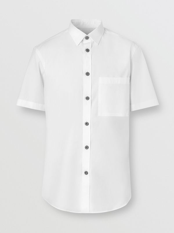 Short-sleeve Slim Fit Stretch Cotton Poplin Shirt in White - Men | Burberry - cell image 3
