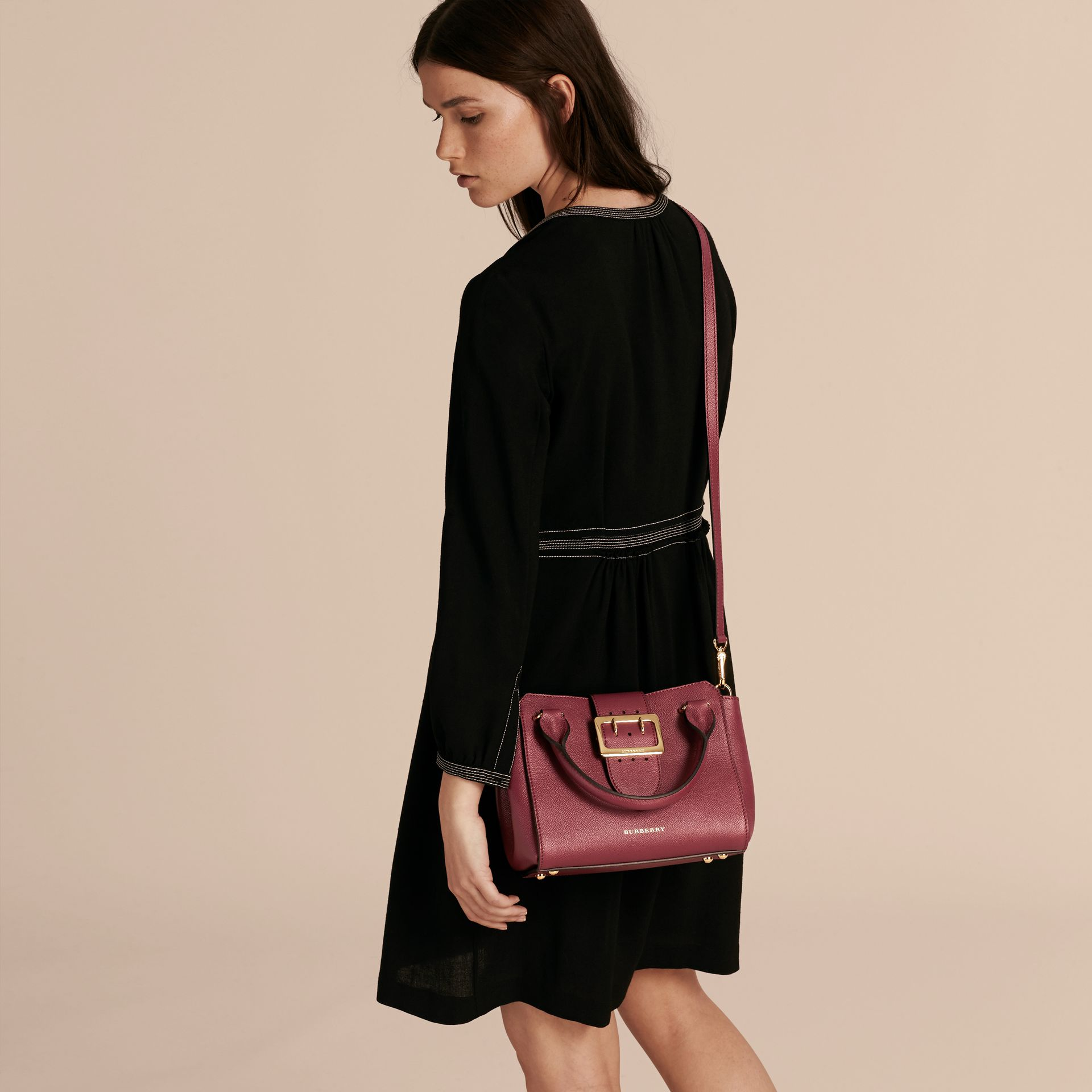 Dark plum The Small Buckle Tote in Grainy Leather Dark Plum - gallery image 3