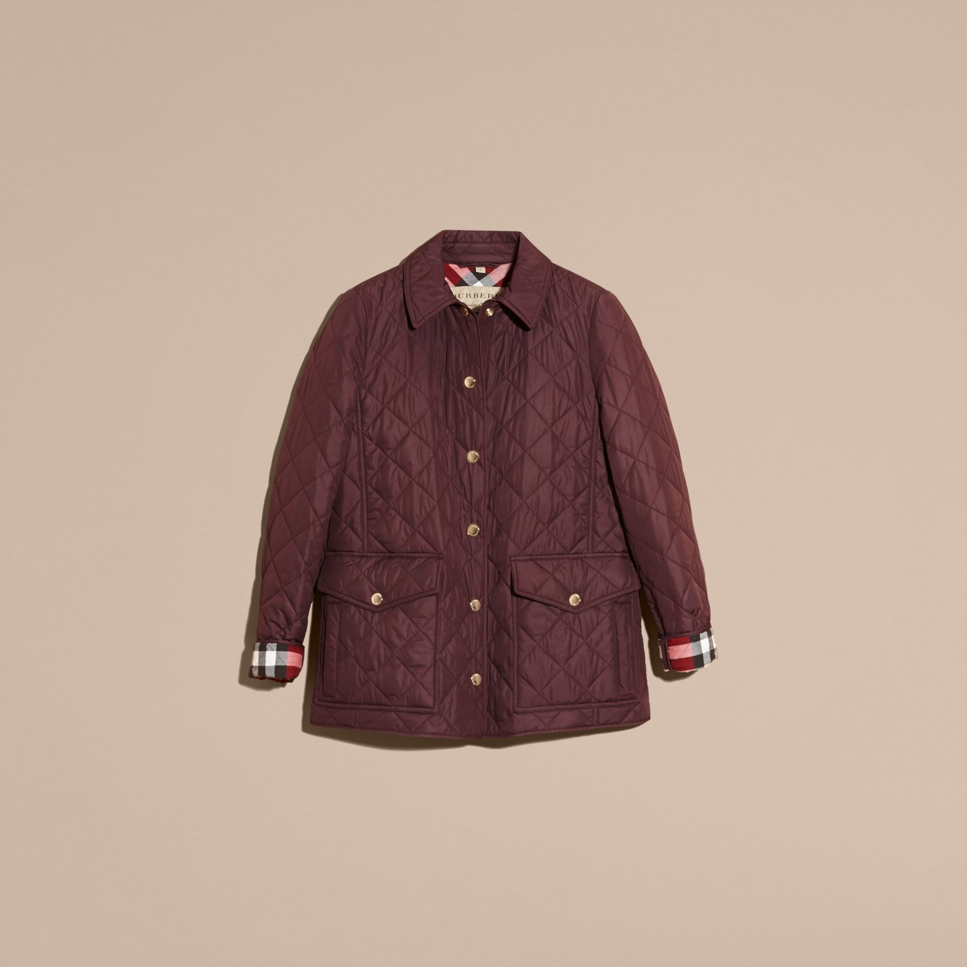Burgundy Check Detail Diamond Quilted Jacket Burgundy - gallery image 3