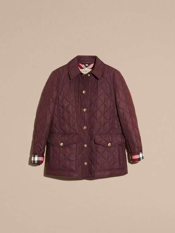 Burgundy Check Lined Diamond Quilted Jacket Burgundy - cell image 2