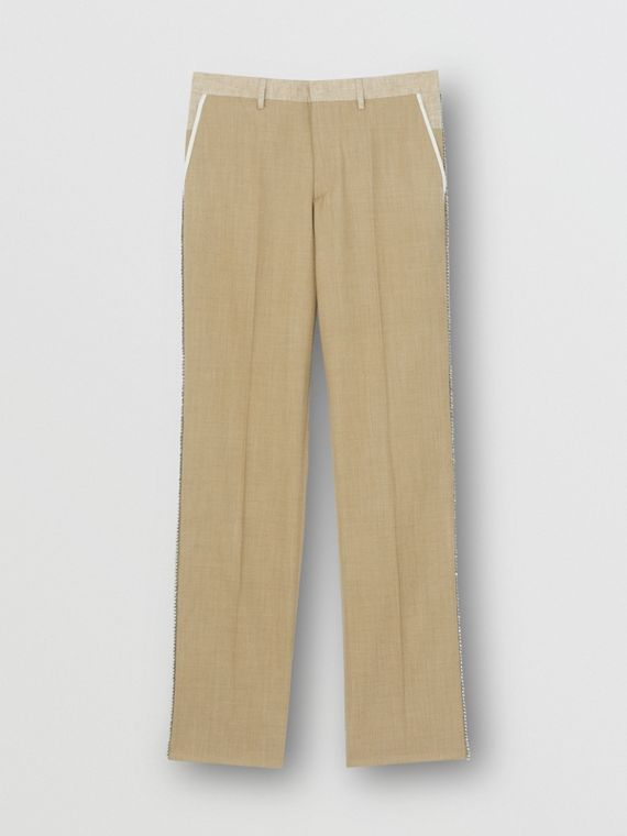 English Fit Crystal Embroidered Wool Cashmere Trousers in Pecan Melange