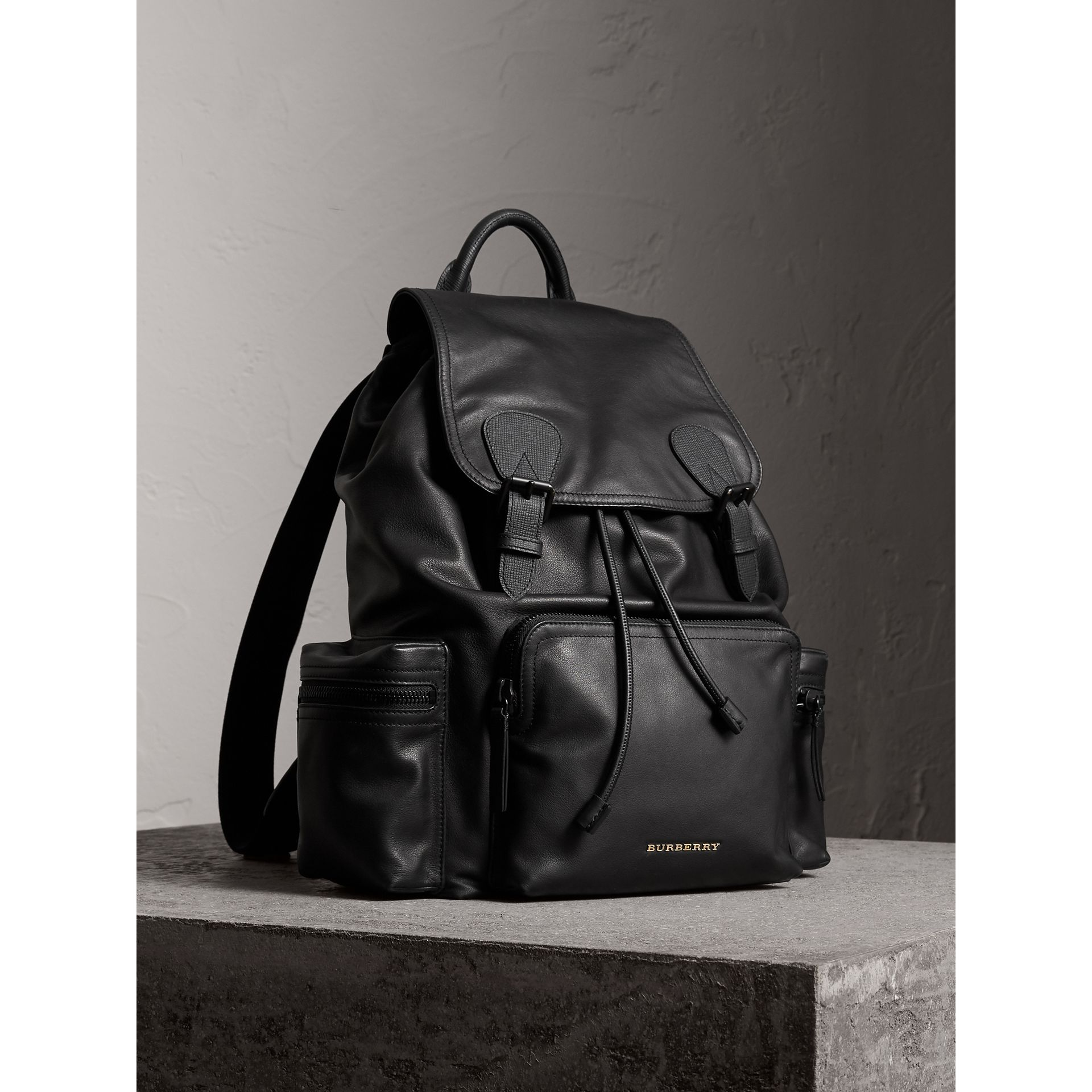 The Large Rucksack in Water-repellent Leather in Black - Men | Burberry United Kingdom - gallery image 1