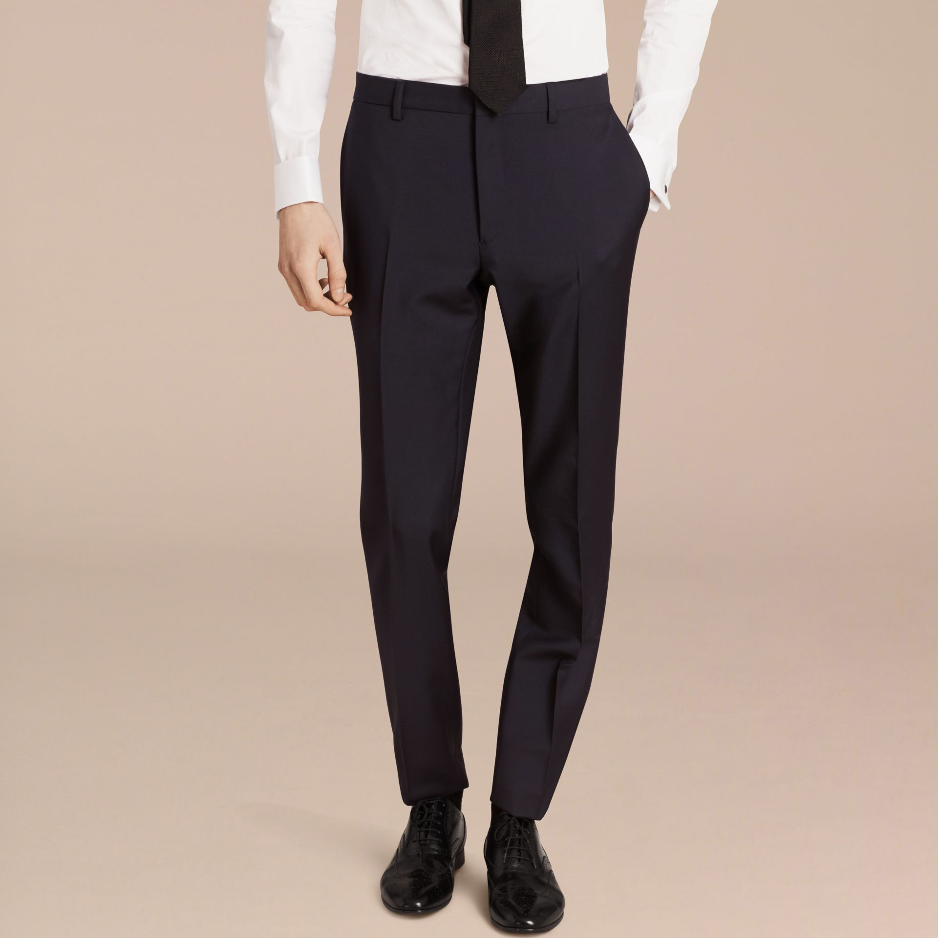 Slim Fit Wool Mohair Part-canvas Suit in True Navy - Men | Burberry - gallery image 7