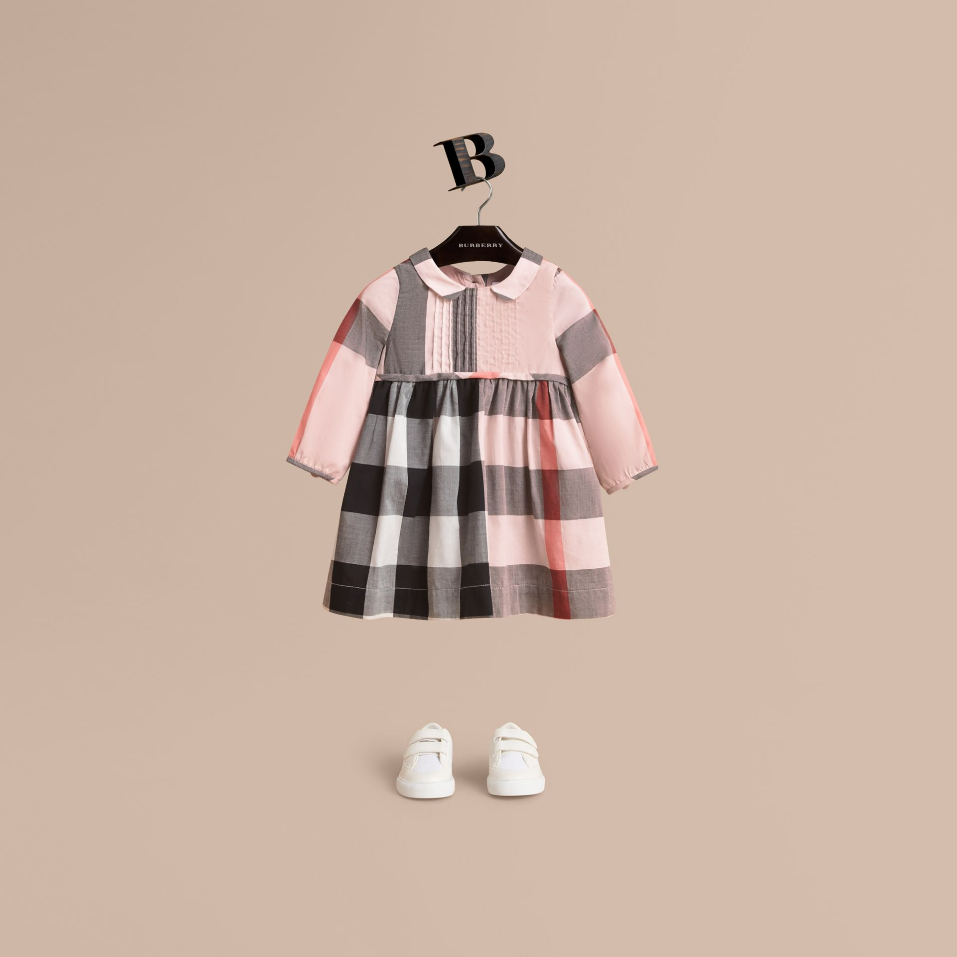 Long-sleeve Check Pintuck Bib Cotton Dress in Vintage Pink | Burberry United Kingdom - gallery image 1