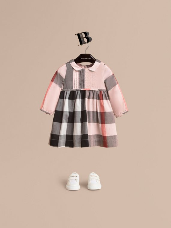 Long-sleeve Check Pintuck Bib Cotton Dress in Vintage Pink