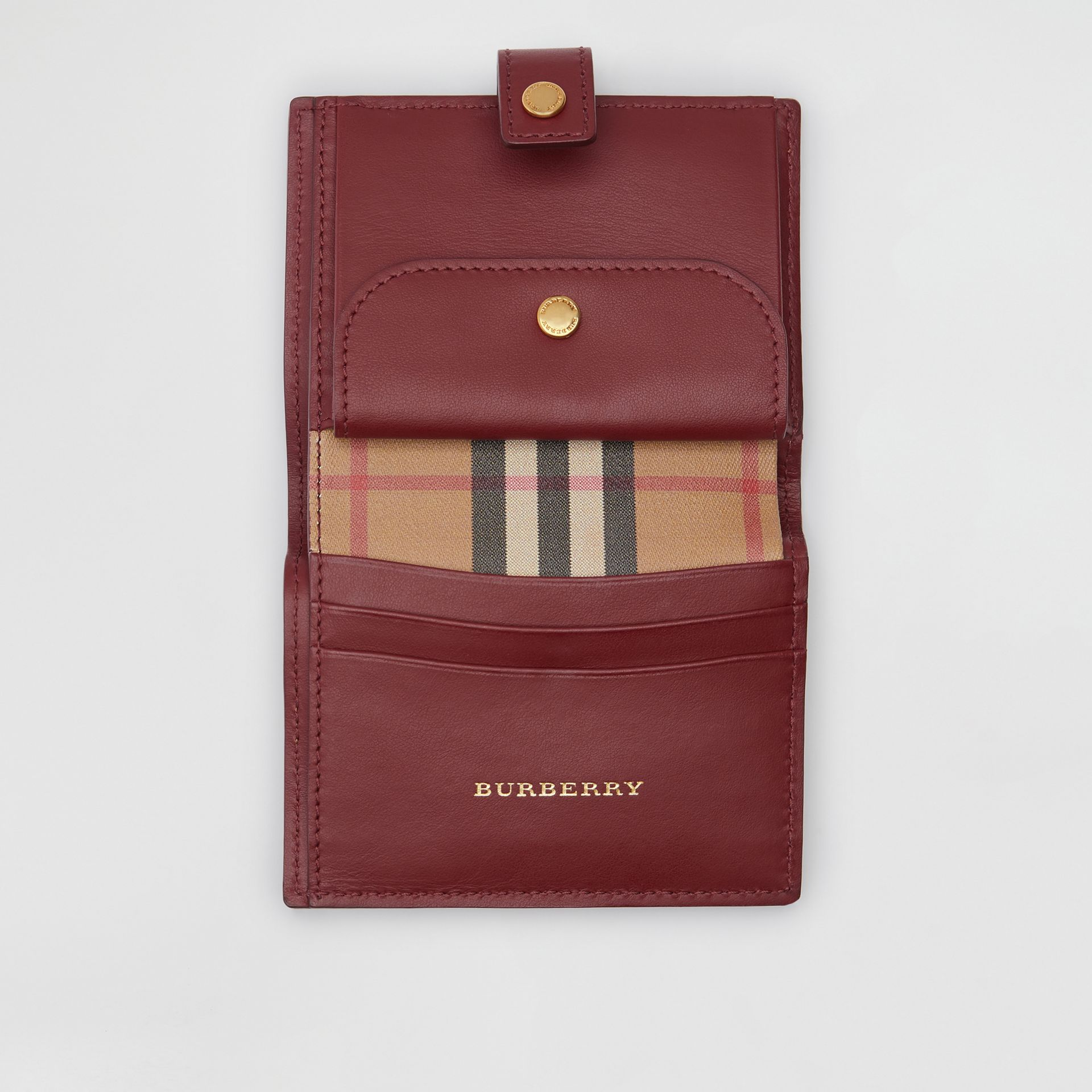 Vintage Check and Leather Folding Wallet in Crimson - Women | Burberry United States - gallery image 3