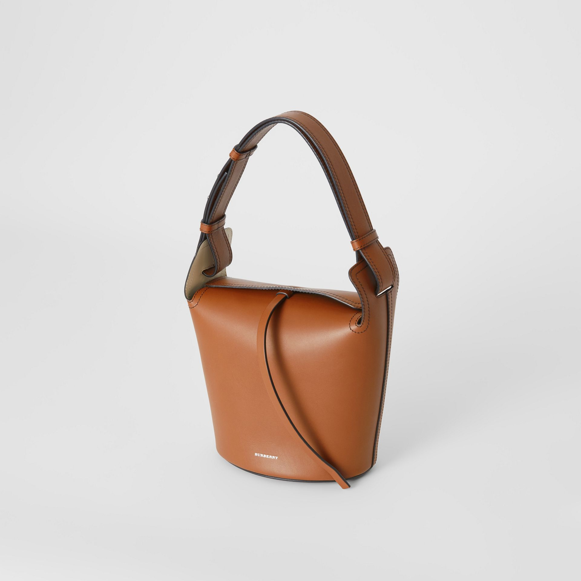 The Small Leather Bucket Bag in Tan - Women | Burberry - gallery image 3