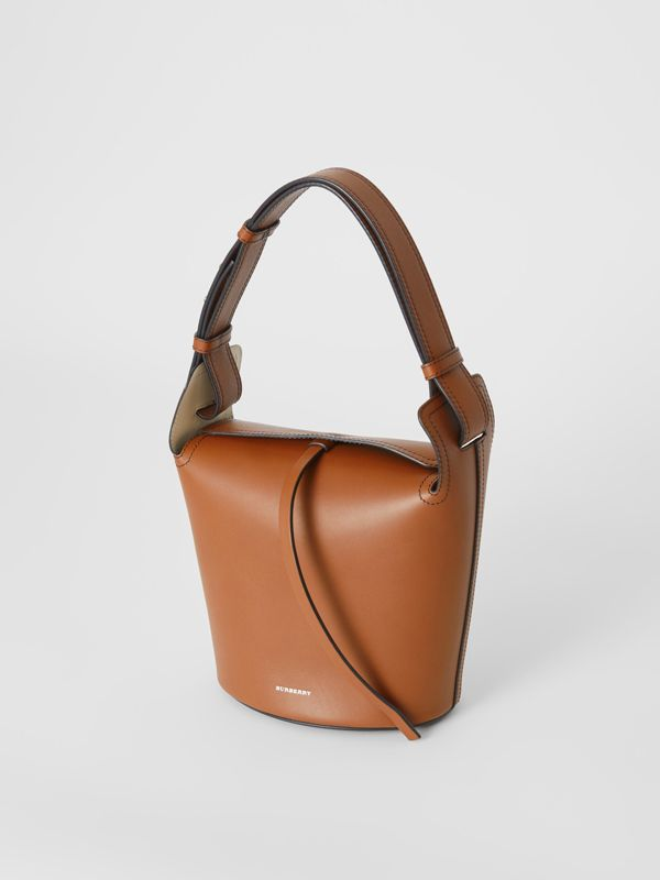 The Small Leather Bucket Bag in Tan - Women | Burberry - cell image 3