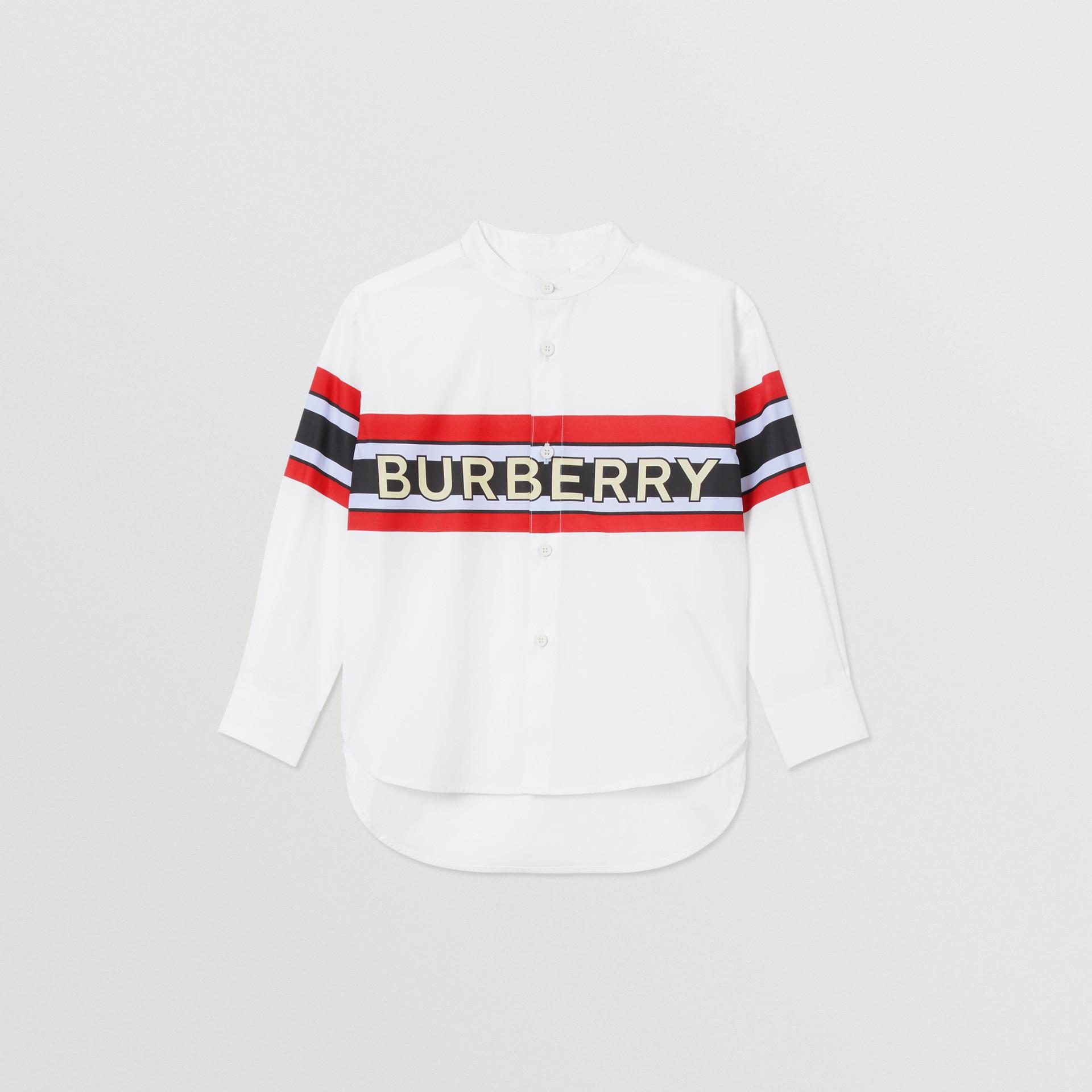 Logo Print Stretch Cotton Poplin Shirt in White | Burberry - gallery image 0