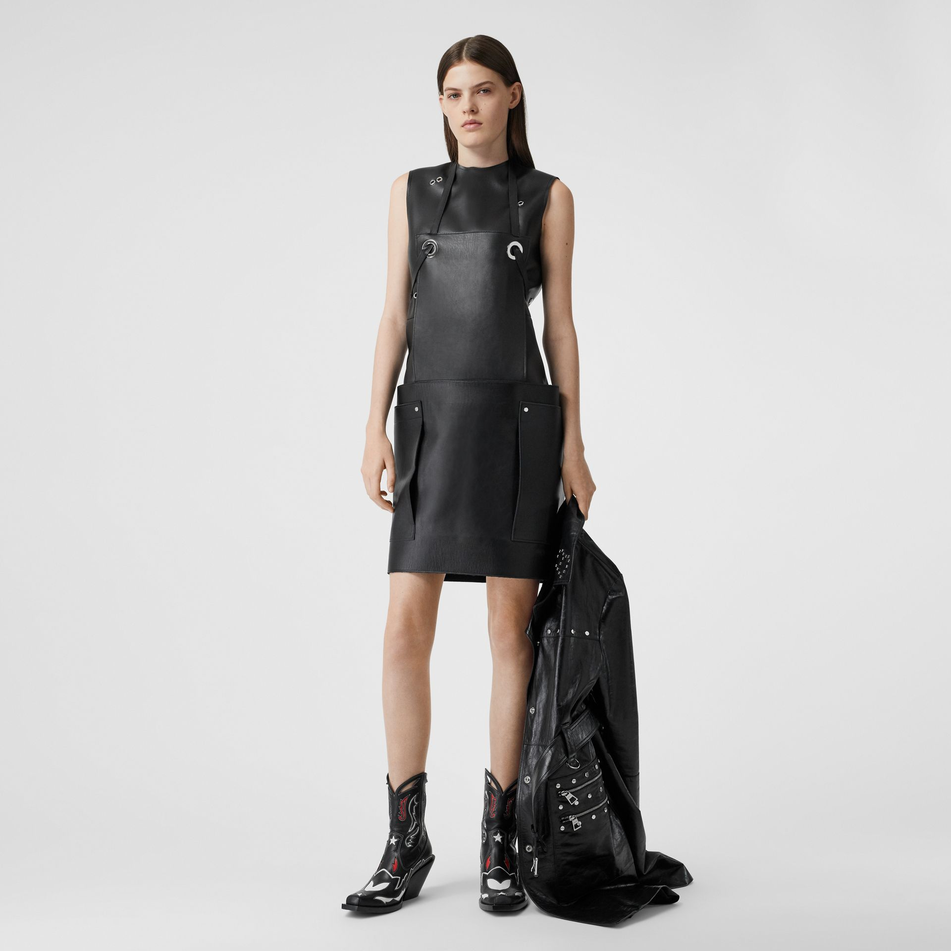 Embellished Faux Leather Mini Dress in Black - Women | Burberry - gallery image 0