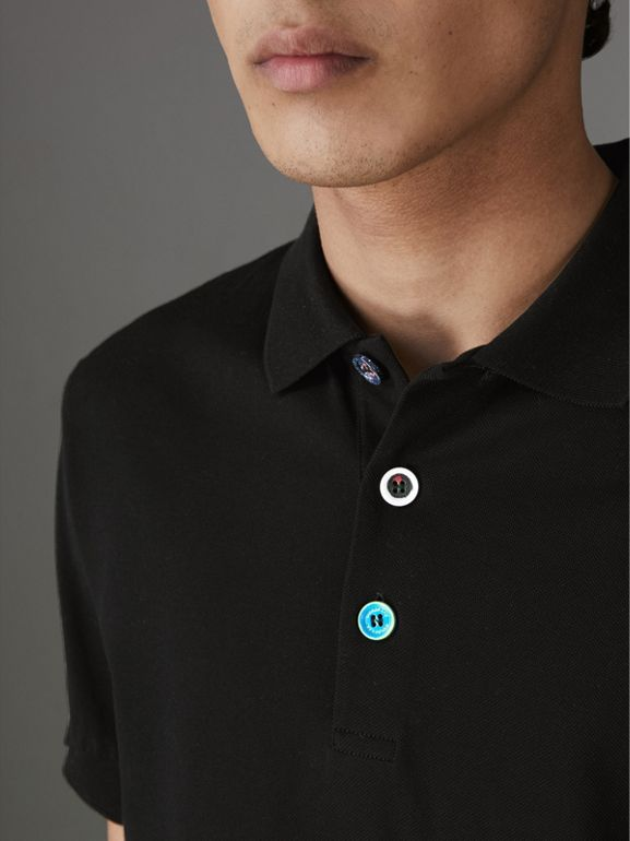 Painted Button Cotton Piqué Polo Shirt in Black - Men | Burberry - cell image 1