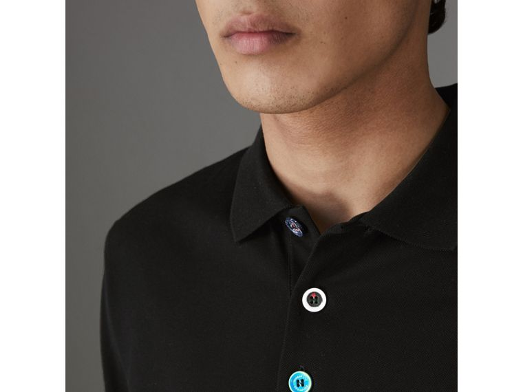 Painted Button Cotton Piqué Polo Shirt in Black - Men | Burberry United Kingdom - cell image 1