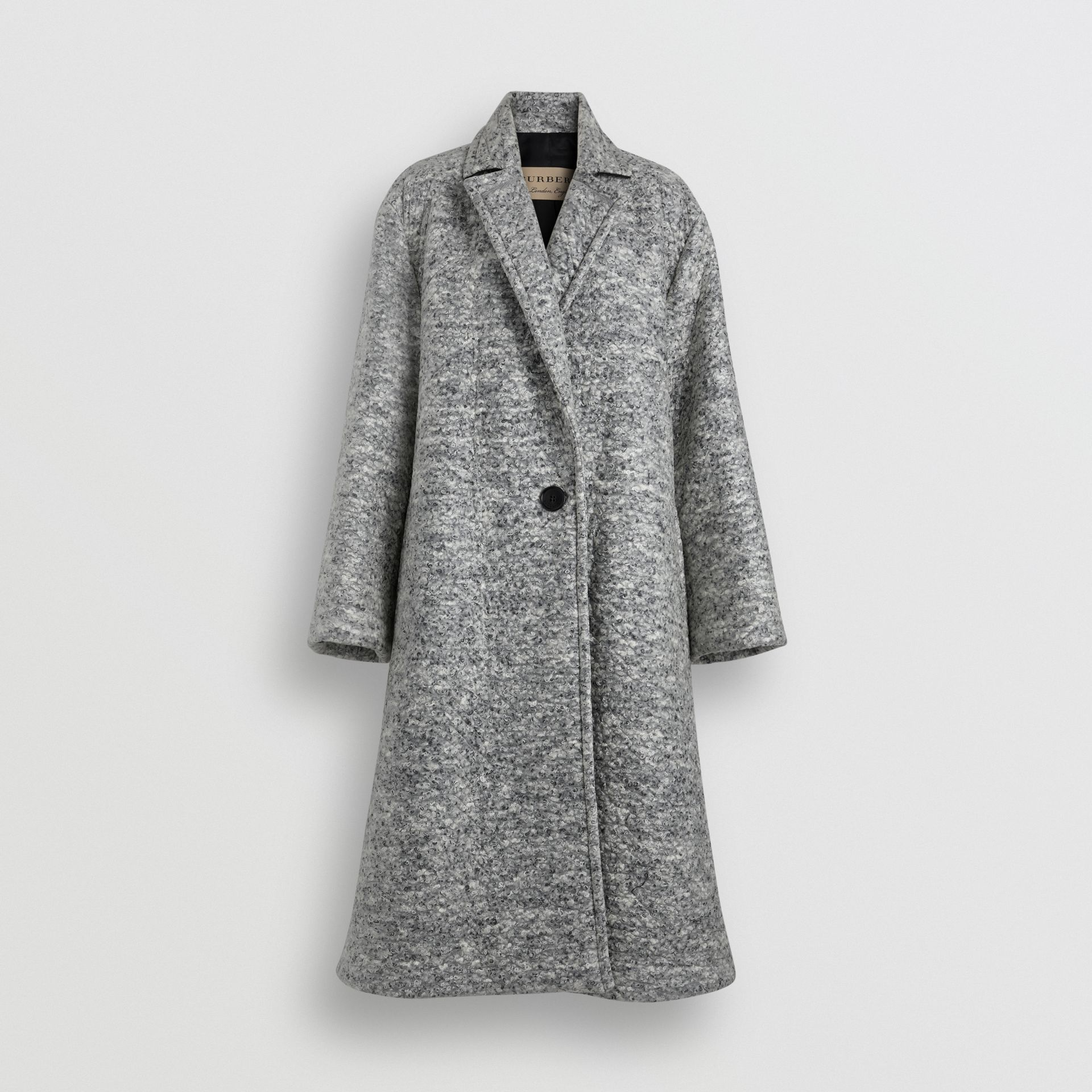 Laminated Cashmere Wool Blend Oversized Coat in Grey Melange - Women | Burberry - gallery image 3