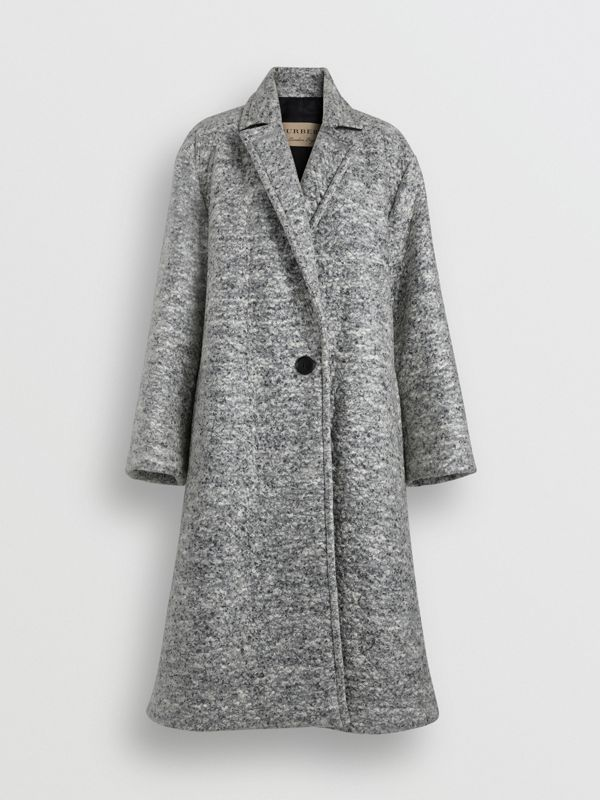 Laminated Cashmere Wool Blend A-line Coat in Grey Melange - Women | Burberry - cell image 3