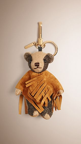 Thomas Bear Charm with Suede Poncho
