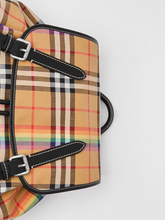 The Large Rucksack in Rainbow Vintage Check in Antique Yellow | Burberry - cell image 1
