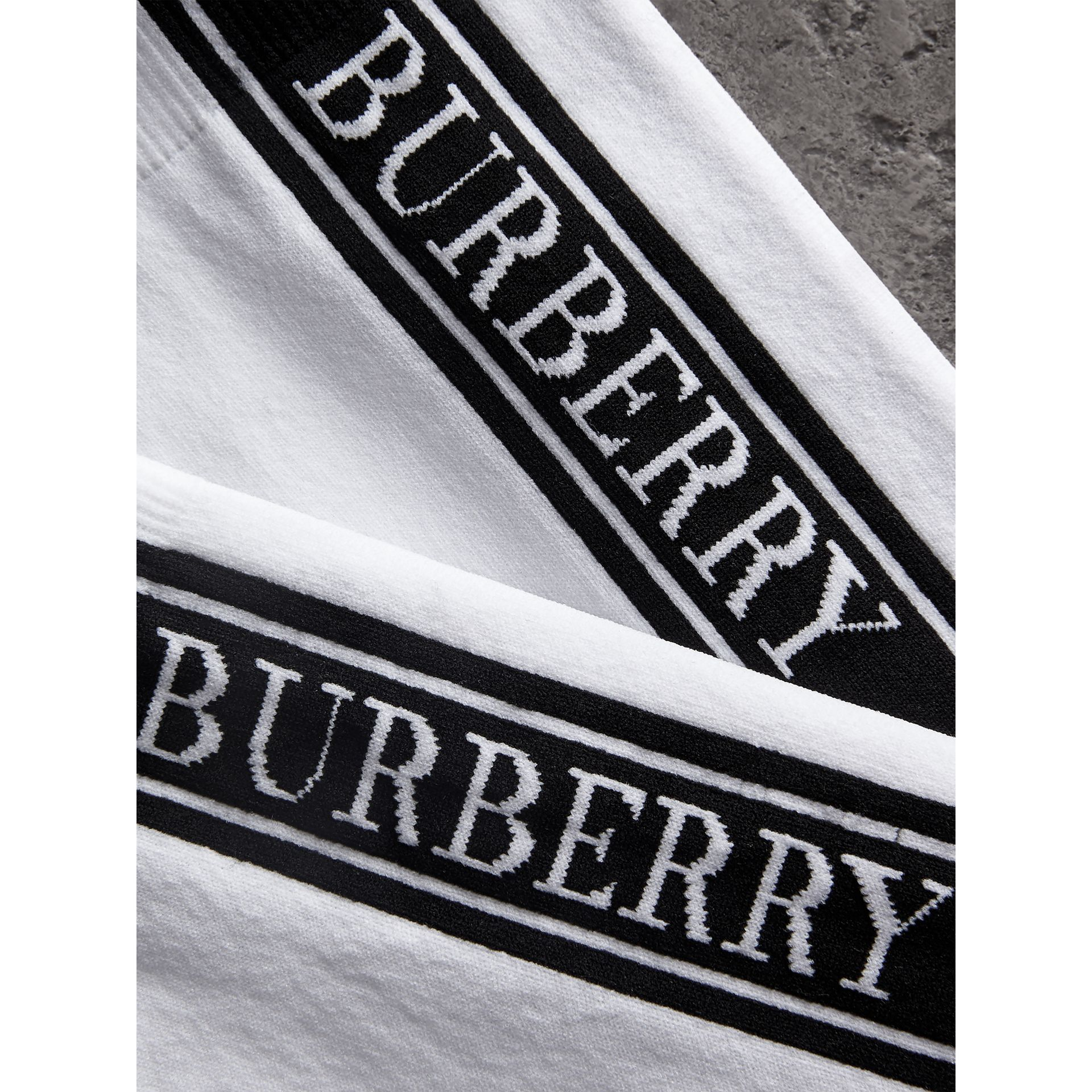 Logo Technical Knit Socks in White | Burberry - gallery image 1