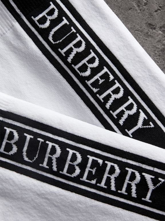 Logo Technical Knit Socks in White | Burberry United Kingdom - cell image 1