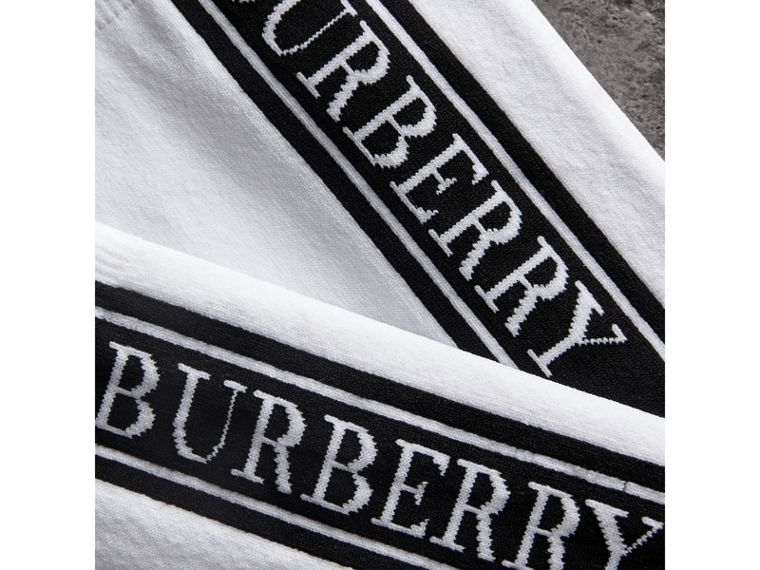 Logo Technical Knit Socks in White | Burberry Australia - cell image 1
