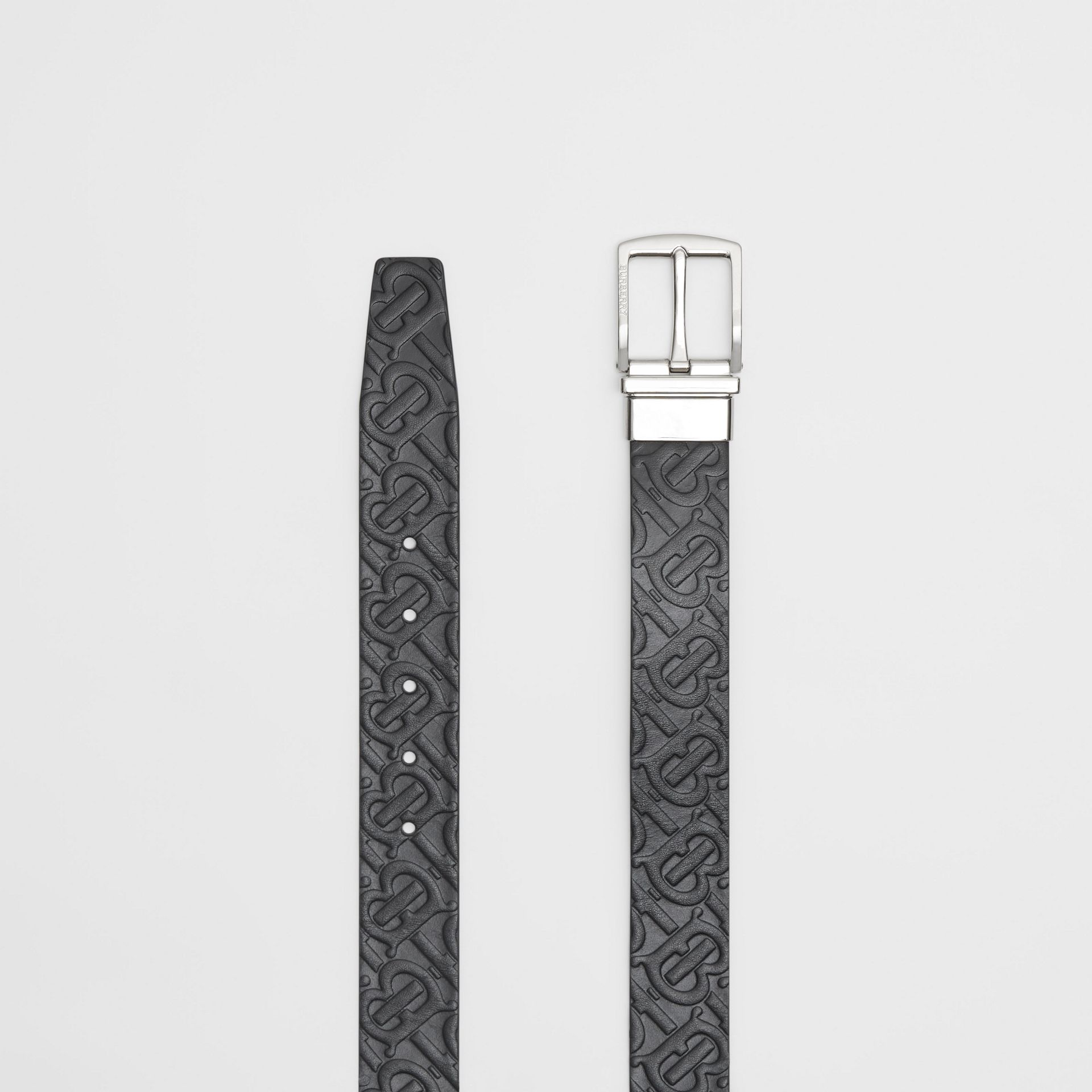 Reversible Monogram Leather Belt in Black - Men | Burberry - gallery image 5