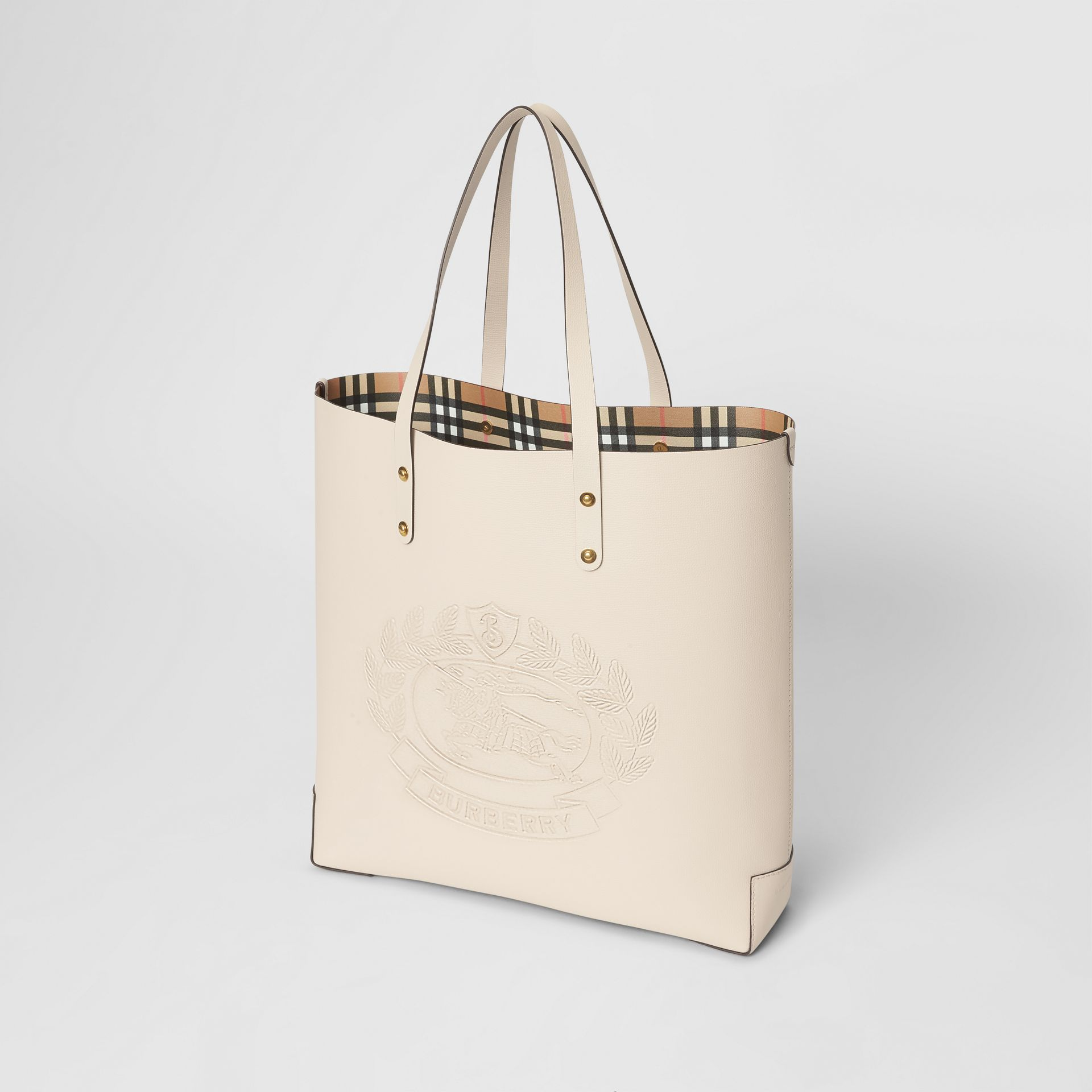 Large Embossed Crest Leather Tote in Limestone | Burberry Australia - gallery image 4