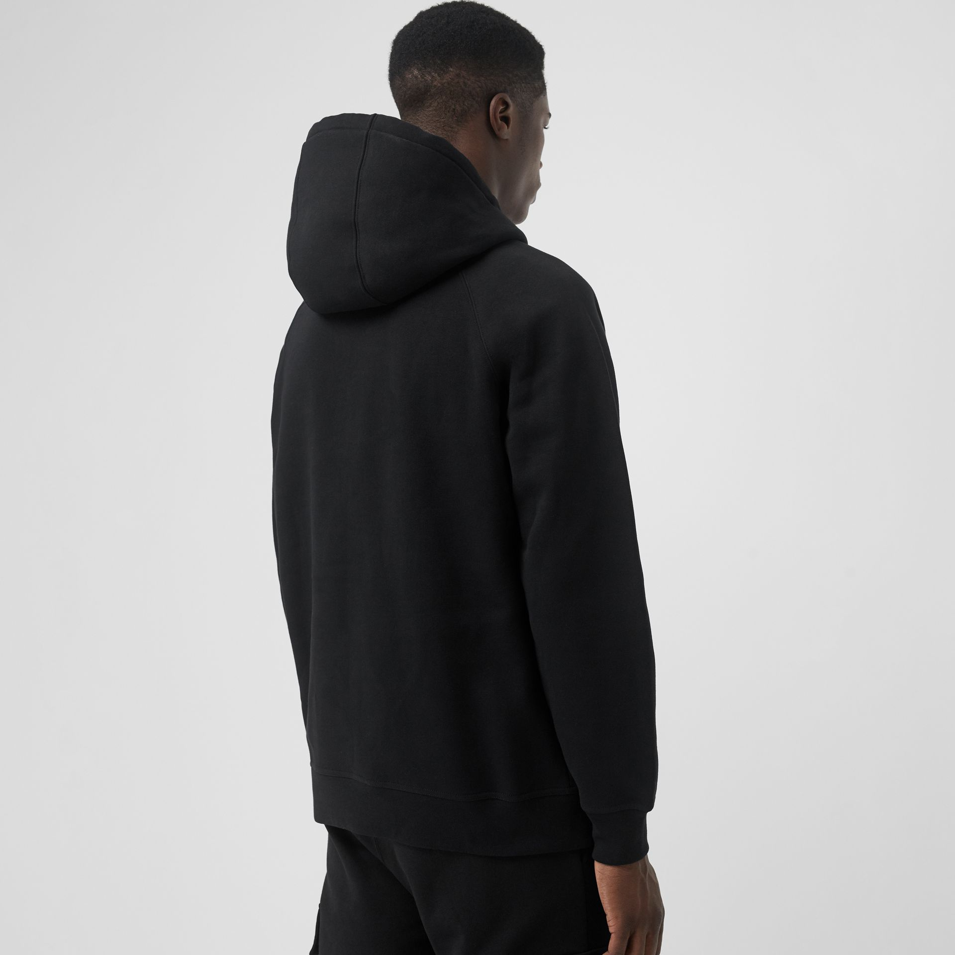 Embroidered Logo Jersey Hoodie in Black - Men | Burberry Hong Kong S.A.R - gallery image 2