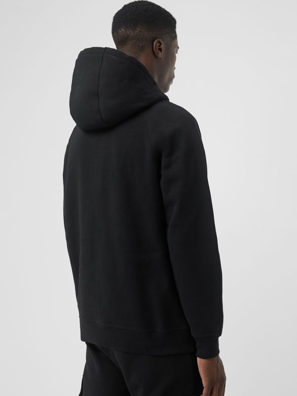 Embroidered Logo Jersey Hoodie in Black - Men | Burberry Hong Kong S.A.R - cell image 2