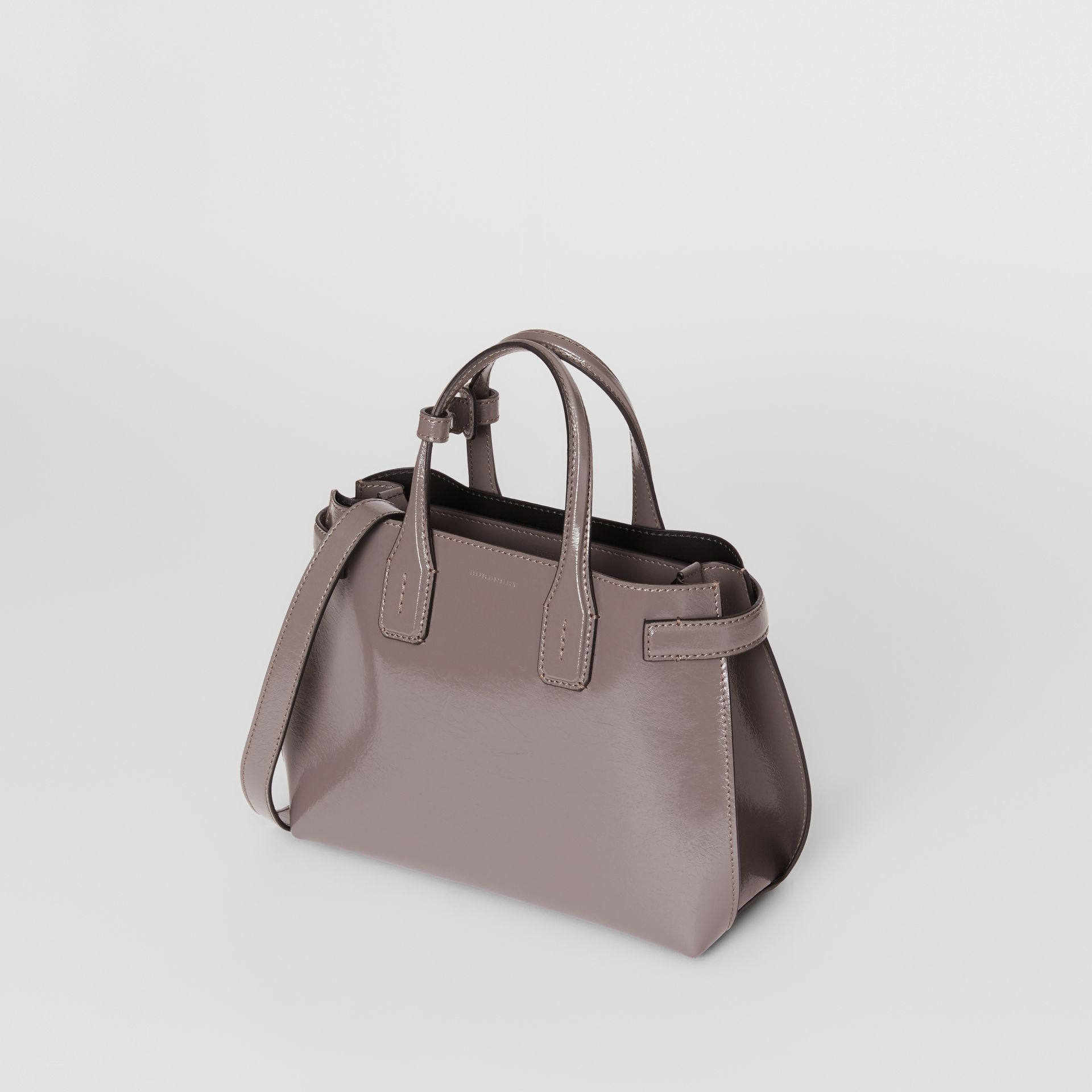 The Small Soft Leather Banner in Sepia Grey - Women | Burberry - gallery image 2