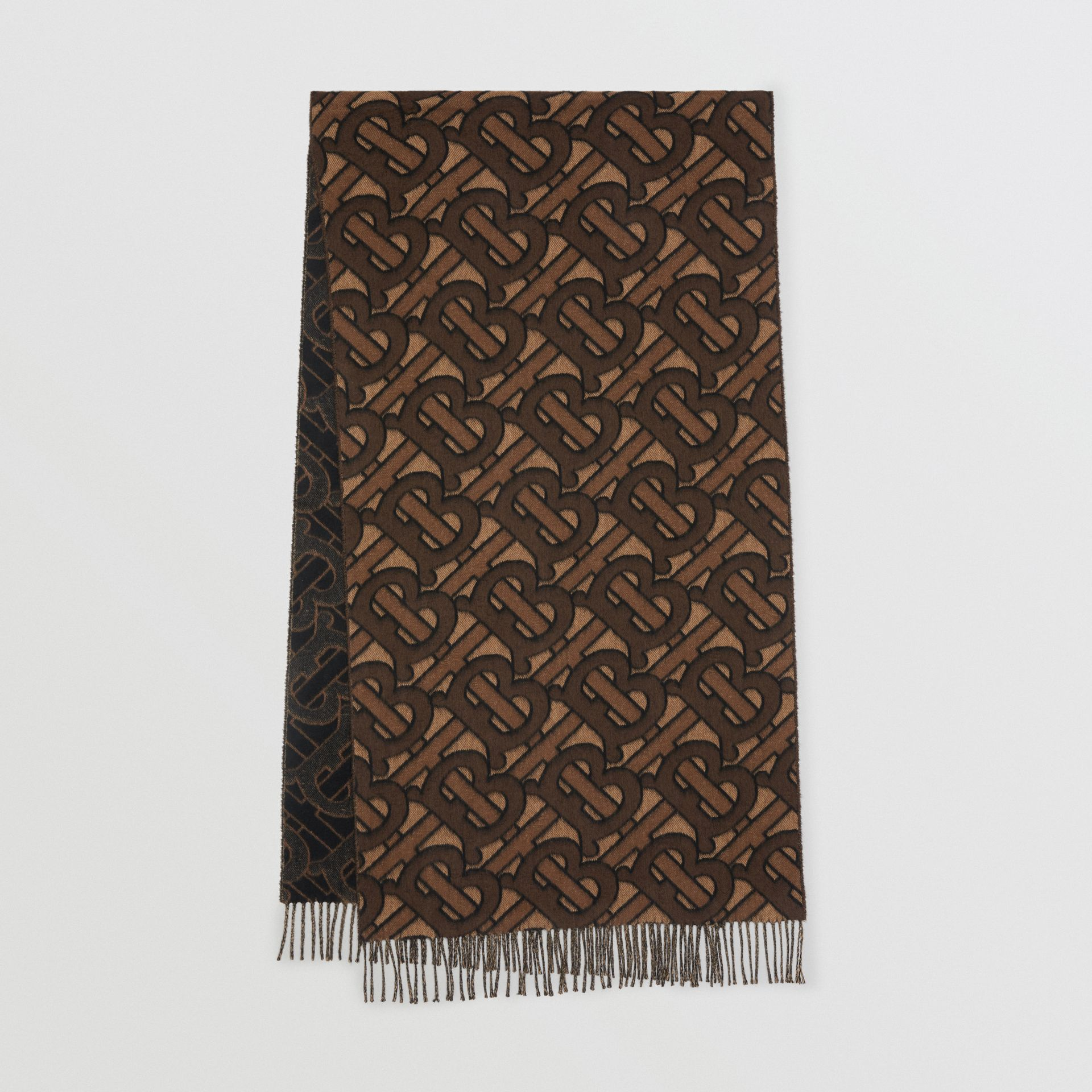 Monogram Cashmere Jacquard Scarf in Dark Mocha | Burberry Hong Kong S.A.R - gallery image 0