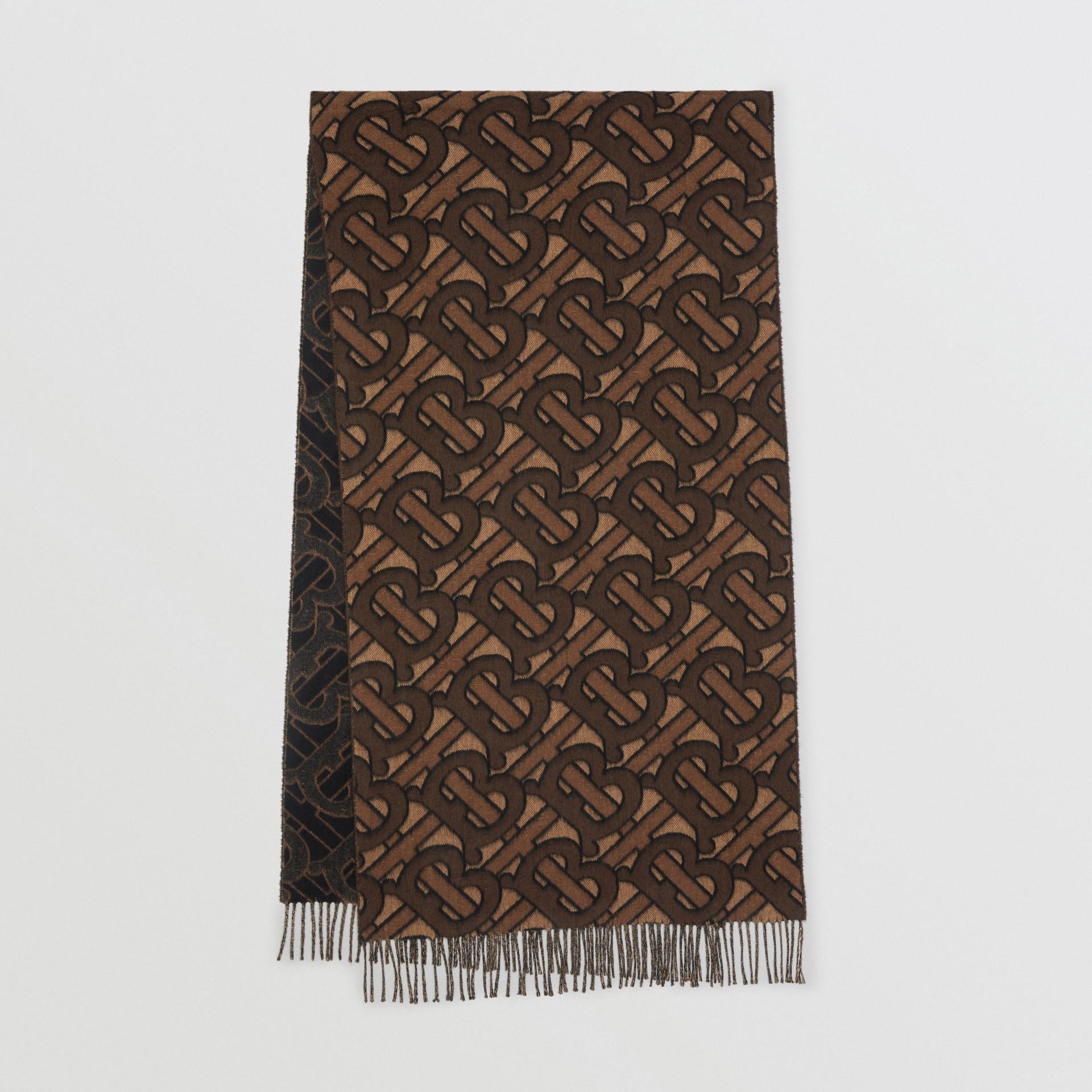 Schal aus Kaschmir mit Jacquard-gewebtem Monogrammmuster (Dunkles Mocha) | Burberry - Galerie-Bild 0
