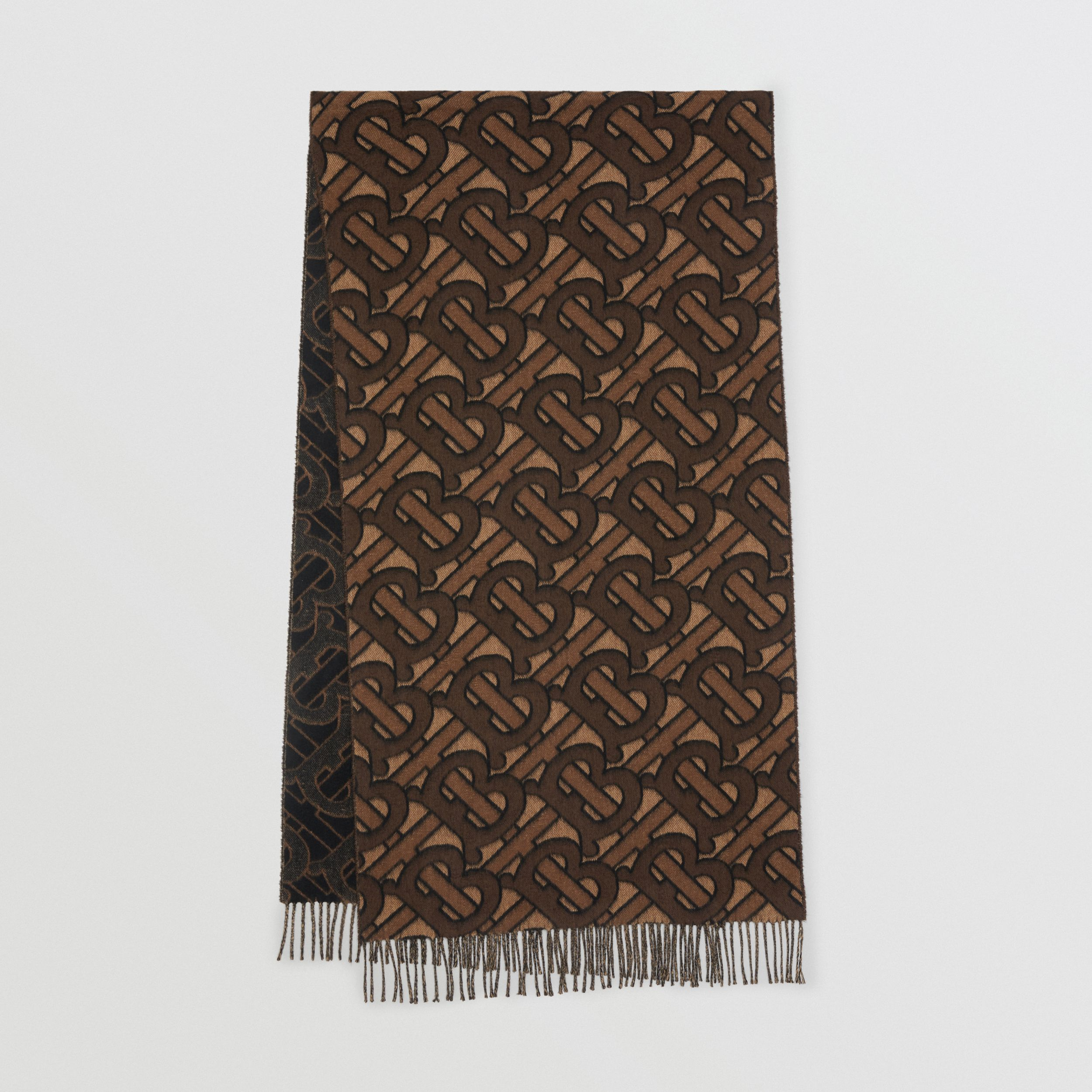 Monogram Cashmere Jacquard Scarf in Dark Mocha | Burberry Hong Kong S.A.R. - 1