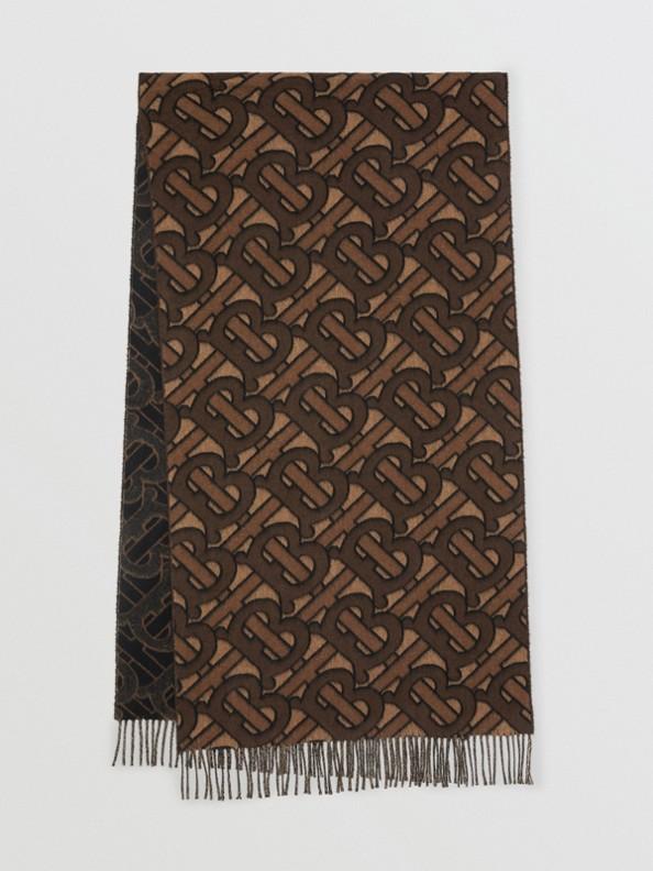 Bufanda en cachemir con motivo de monogramas en jacquard (Moca Oscuro)