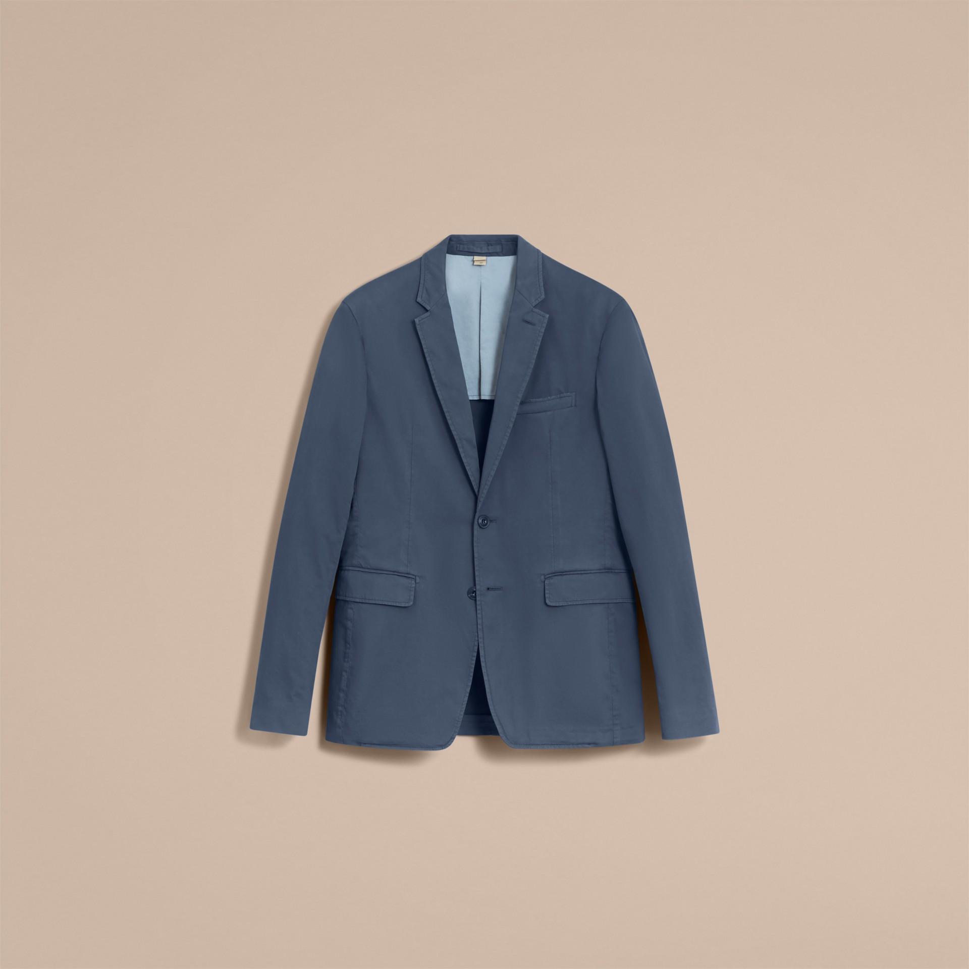 Slim Fit Stretch-cotton Blazer Navy - gallery image 4
