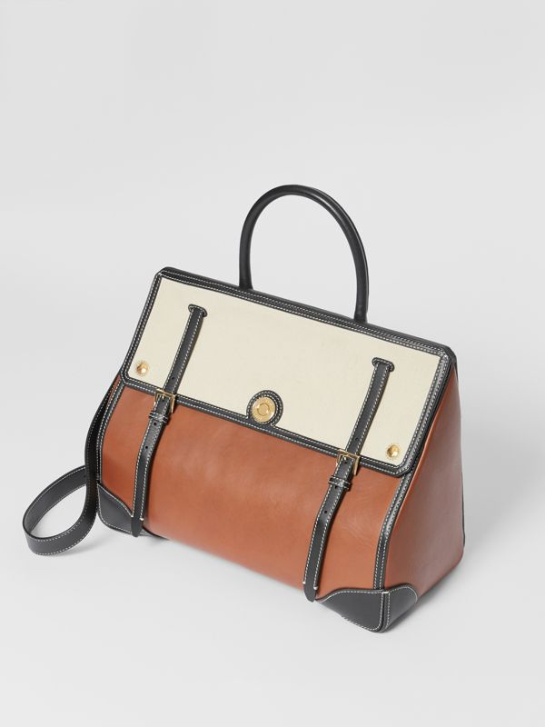 Medium Leather and Cotton Canvas Elizabeth Bag in Tan - Women | Burberry United Kingdom - cell image 3