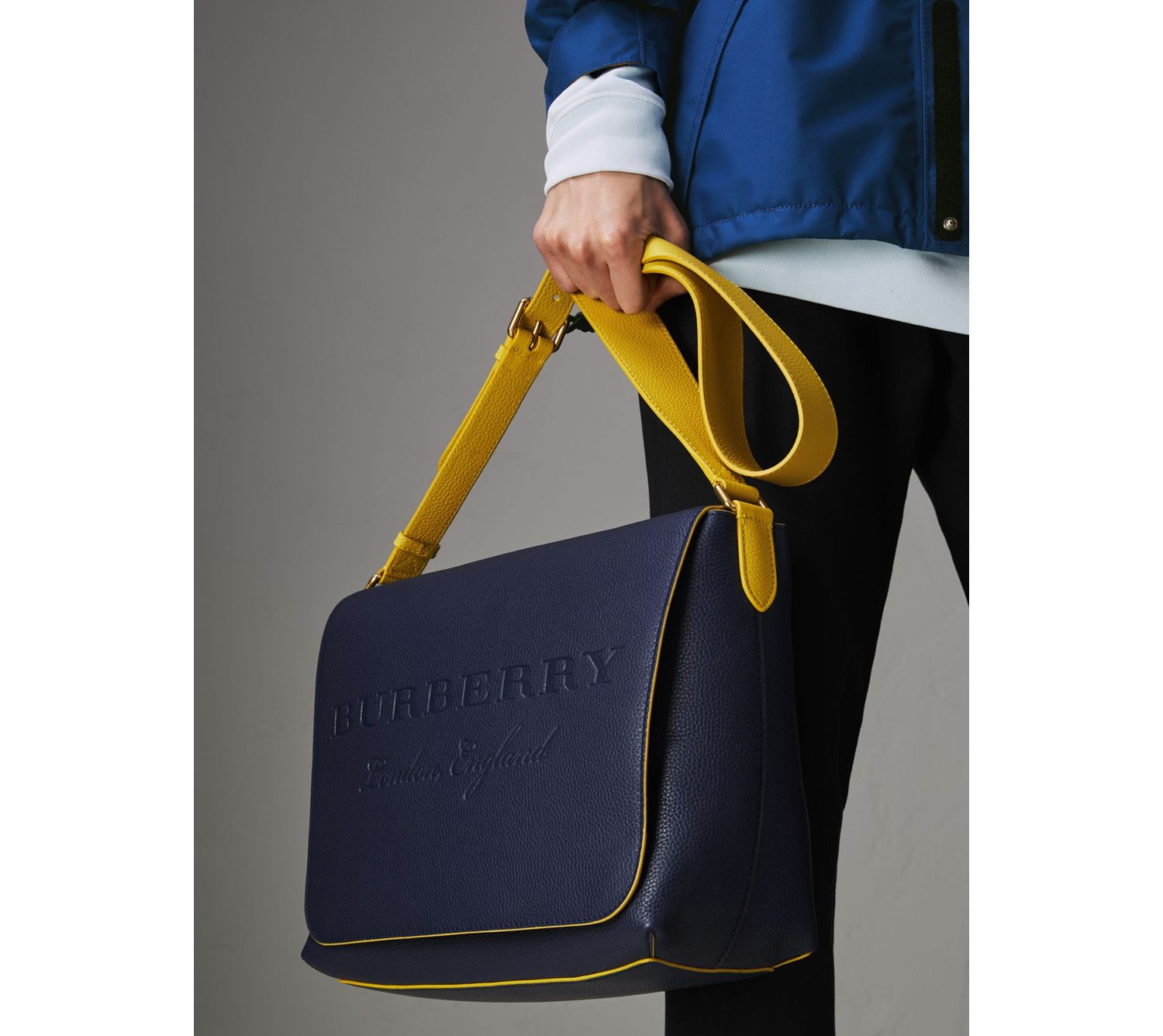 Large Two-tone Embossed Leather Messenger Bag in Regency Blue