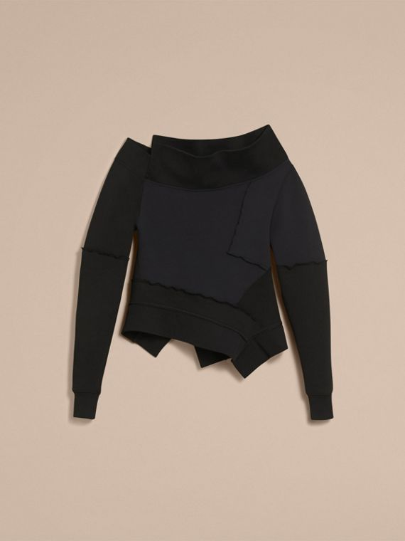 Sculptured-sleeve Seam Detail Sweatshirt in Black - Women | Burberry - cell image 3