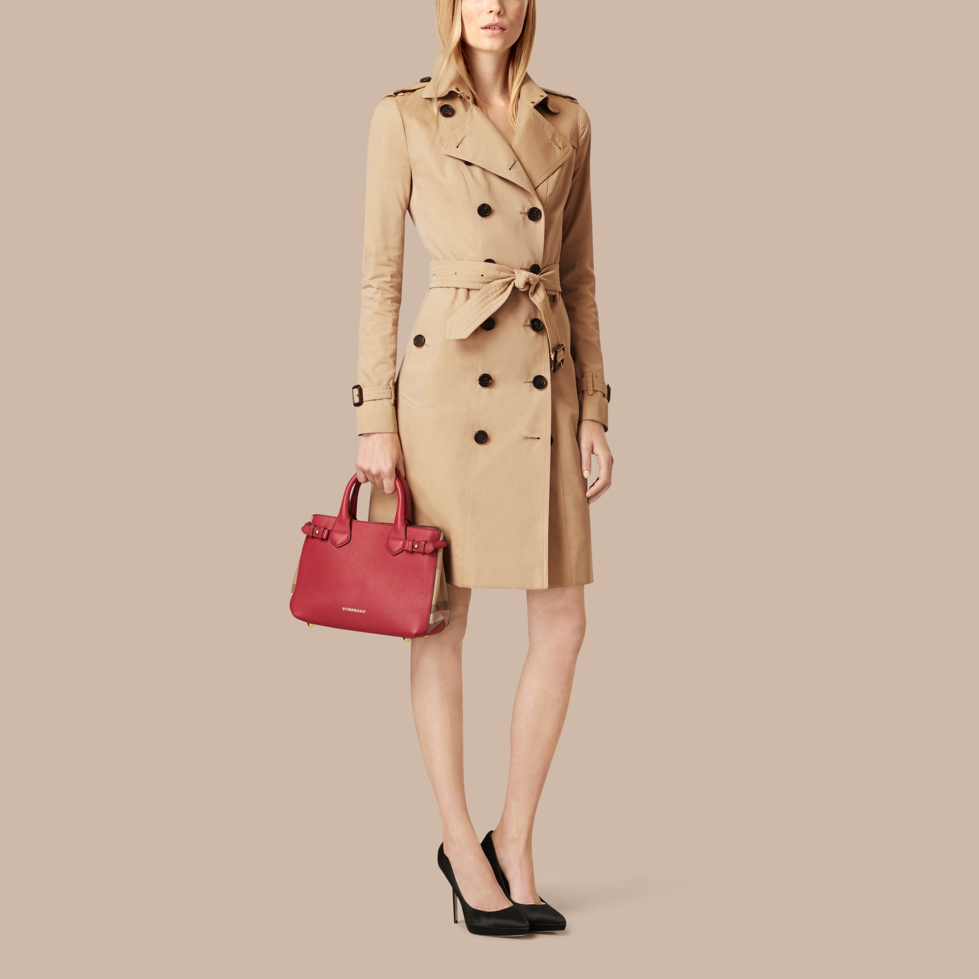 The Small Banner in Leather and House Check in Russet Red - Women | Burberry - gallery image 3