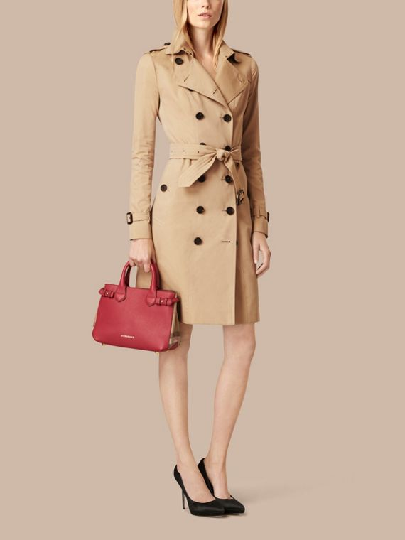 The Small Banner in Leather and House Check in Russet Red - Women | Burberry Canada - cell image 2