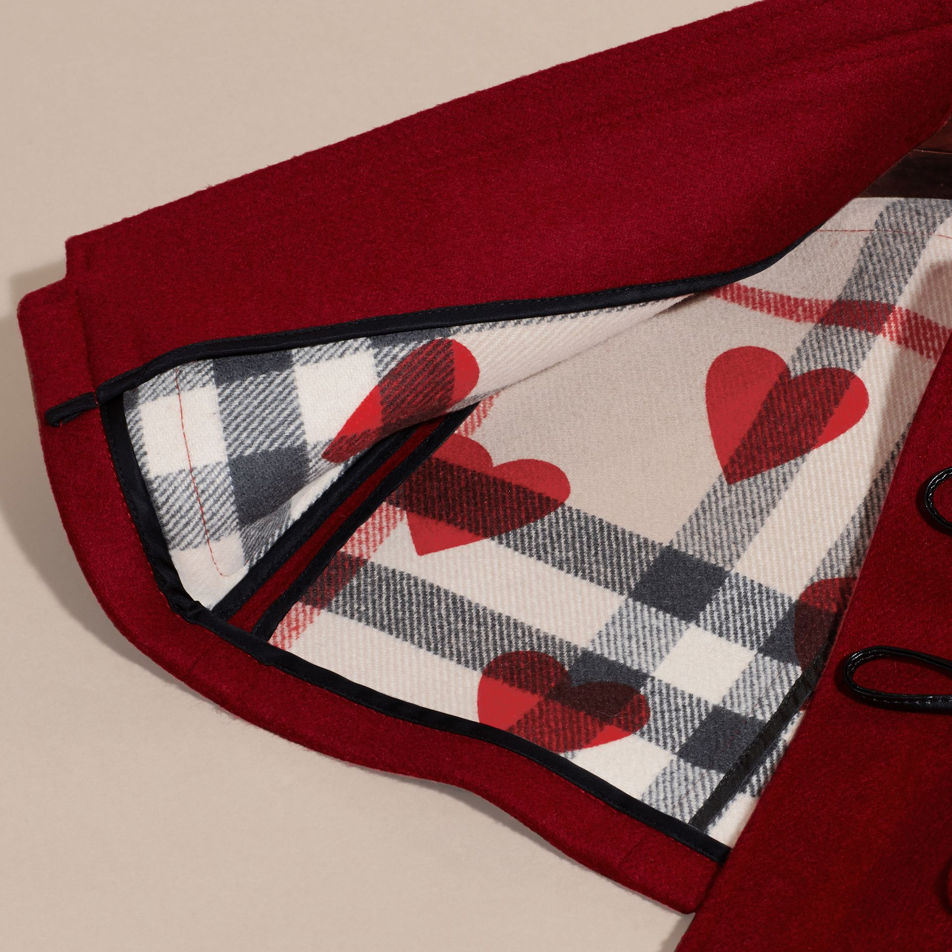 Windsor red Wool Duffle Coat with Check and Hearts Lining - gallery image 6