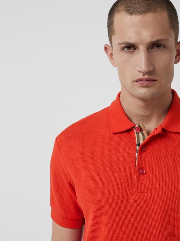 Polo en coton avec détail check (Rouge Vif) - Homme | Burberry Canada - cell image 1