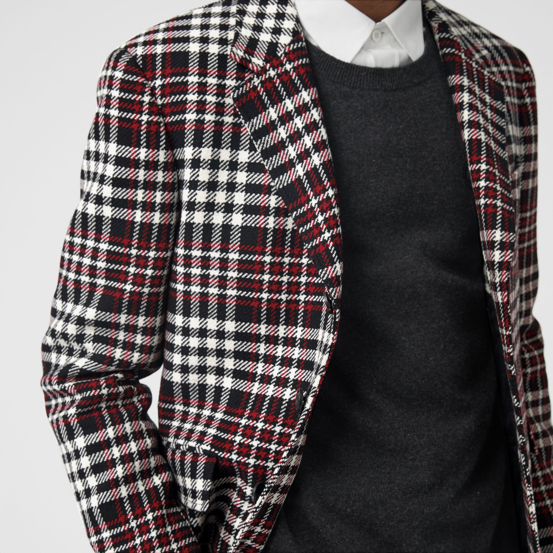 Slim Fit Tartan Technical Wool Tailored Jacket in Red - Men | Burberry Canada - gallery image 1