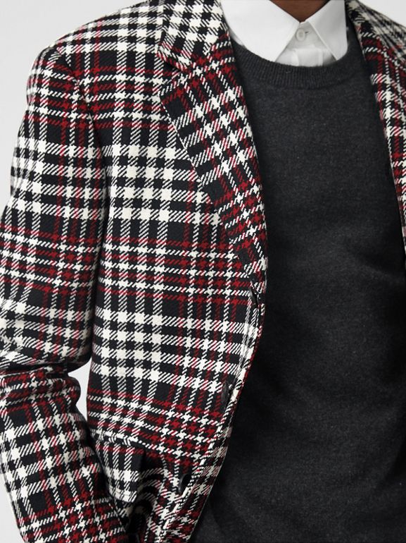 Slim Fit Tartan Technical Wool Tailored Jacket in Red - Men | Burberry Canada - cell image 1