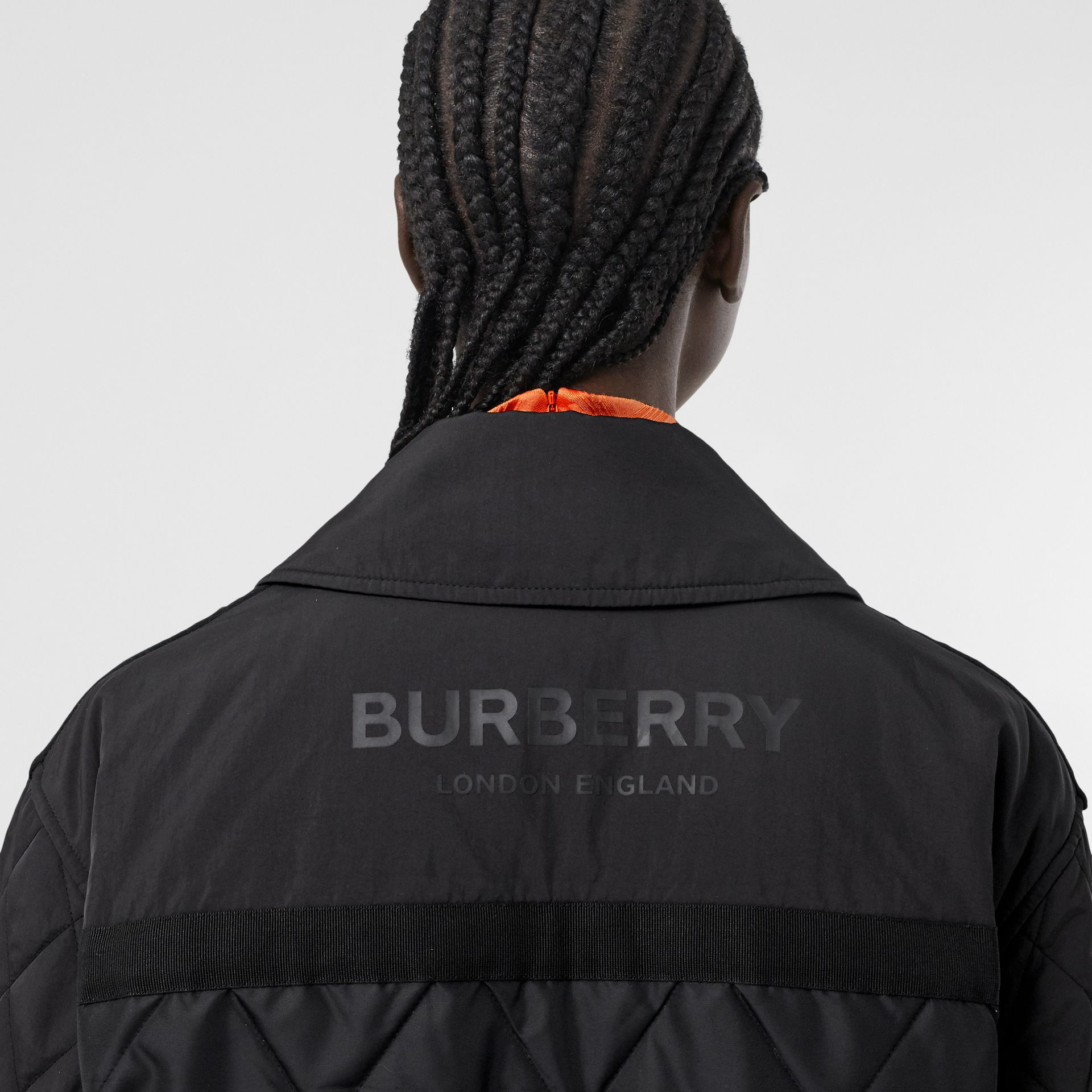 Logo Print Diamond Quilted Jacket in Black | Burberry United Kingdom - gallery image 4