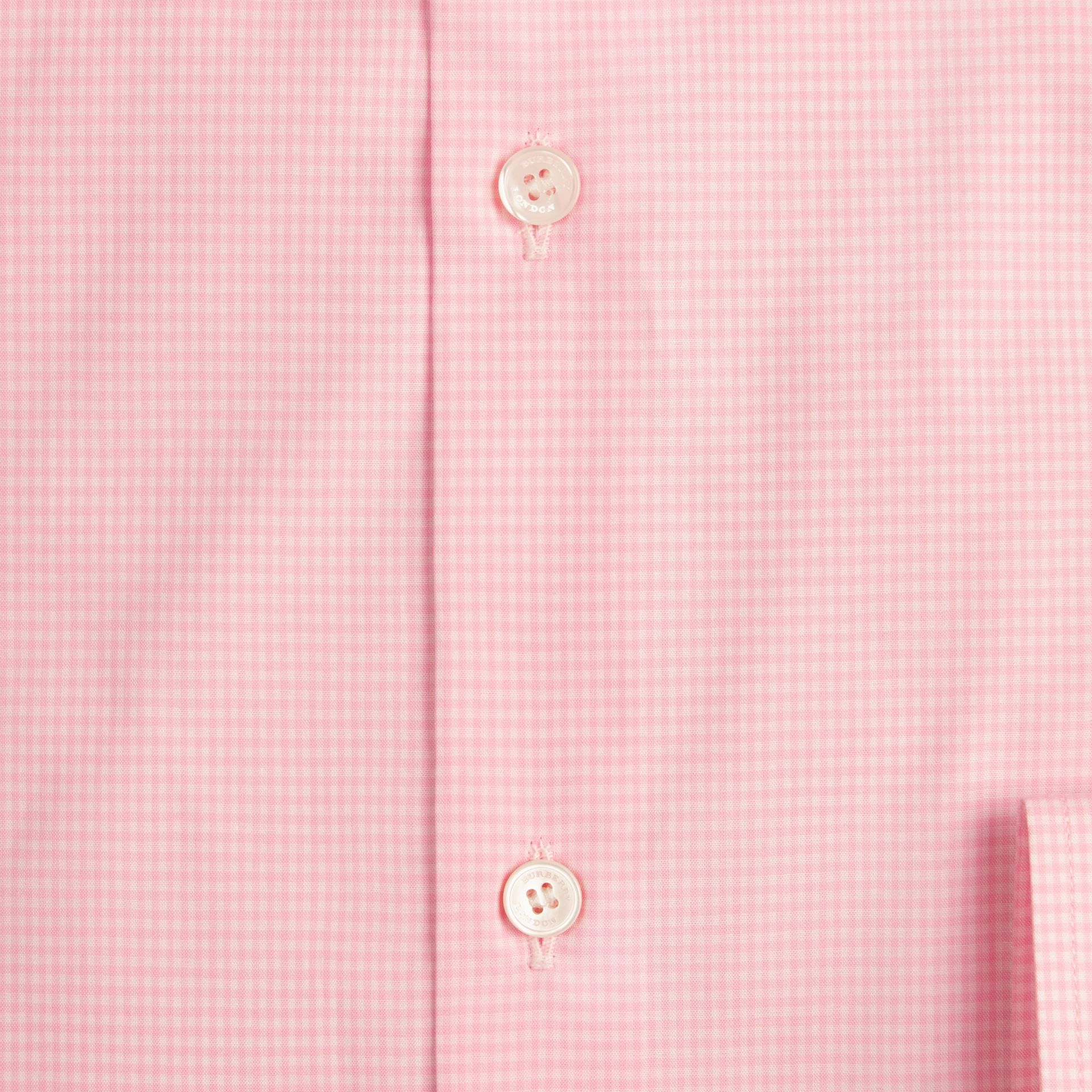 Slim Fit Gingham Cotton Poplin Shirt in City Pink - gallery image 2