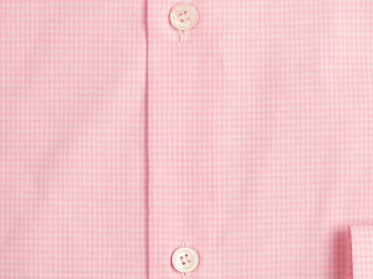 Slim Fit Gingham Cotton Poplin Shirt in City Pink - cell image 1