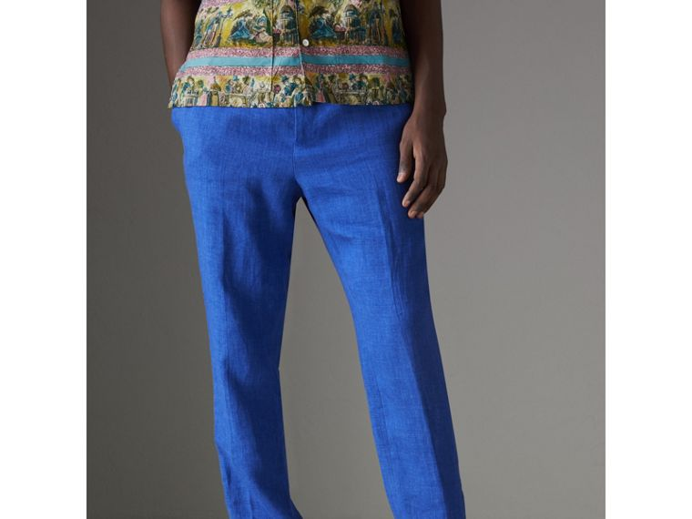 Soho Fit Linen Trousers in Violet Blue - Men | Burberry Australia - cell image 4
