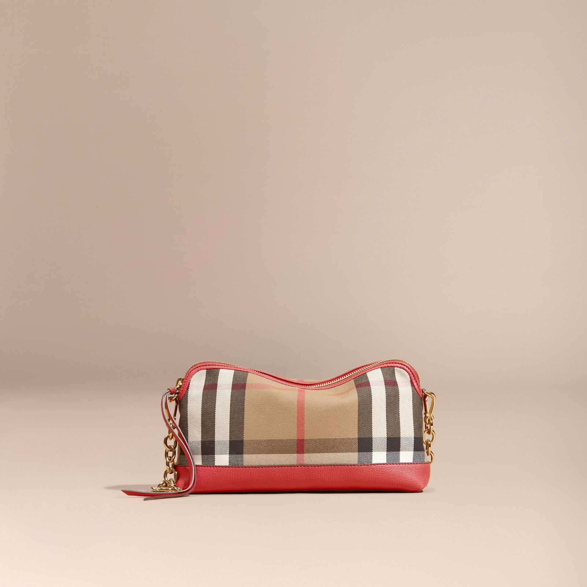 House Check and Leather Clutch Bag Russet Red - gallery image 9