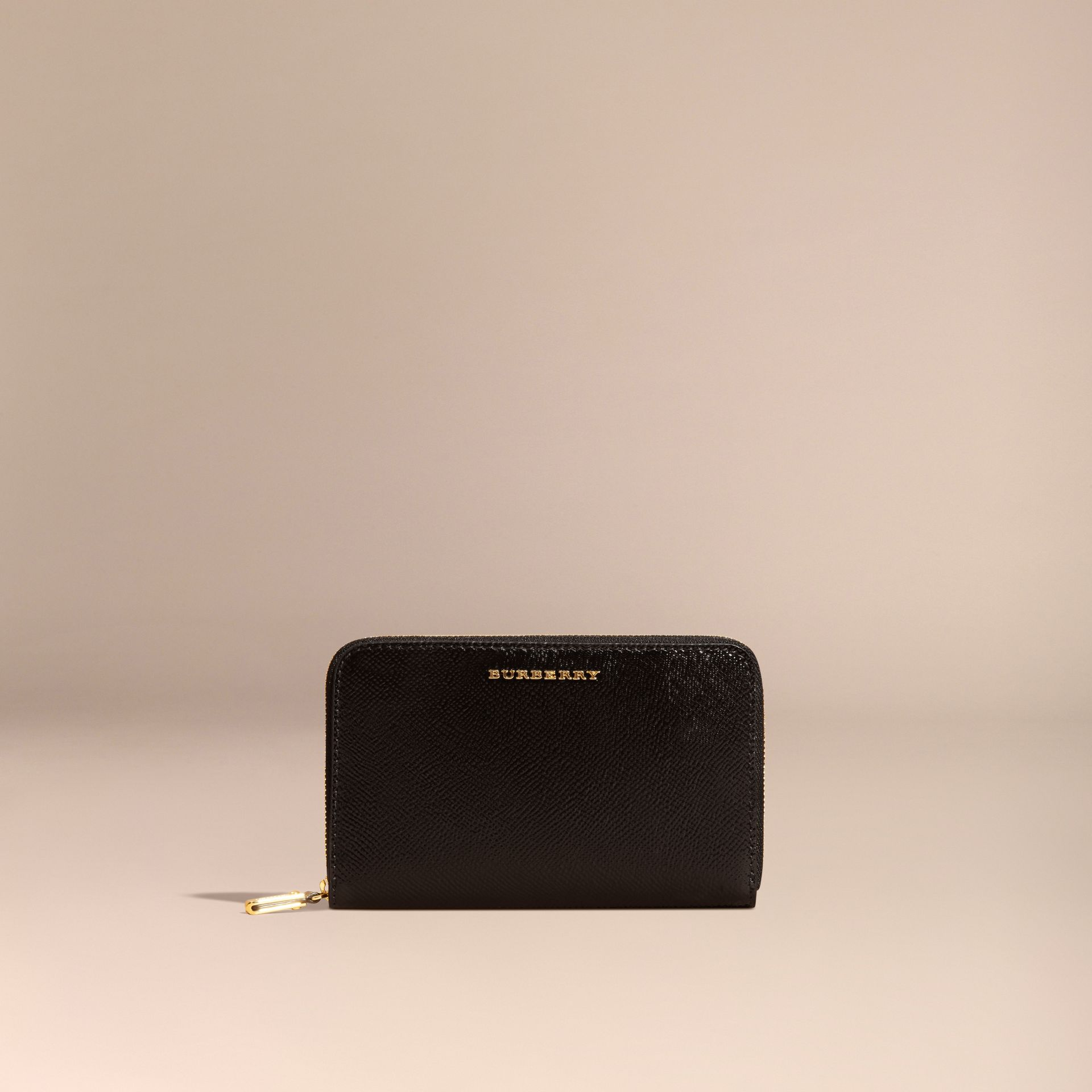 Patent London Leather Ziparound Wallet in Black - gallery image 6