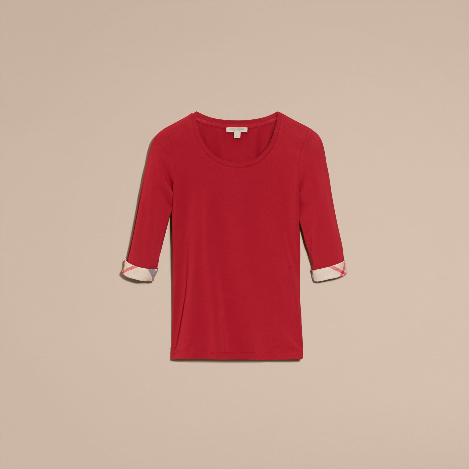 Check Cuff Stretch-Cotton Top in Lacquer Red - Women | Burberry - gallery image 4