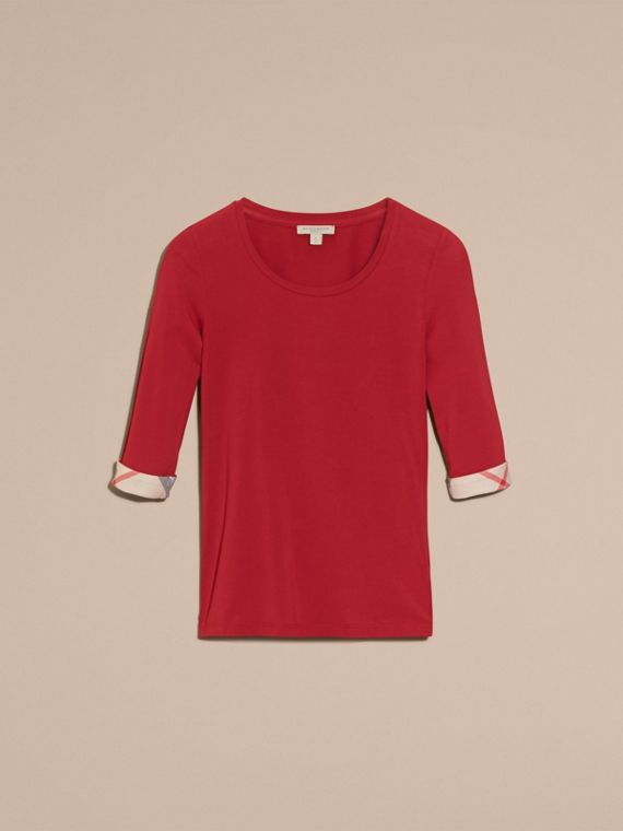 Check Cuff Stretch-Cotton Top in Lacquer Red - Women | Burberry Hong Kong - cell image 3